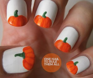 nails, pumpkin, and Halloween image