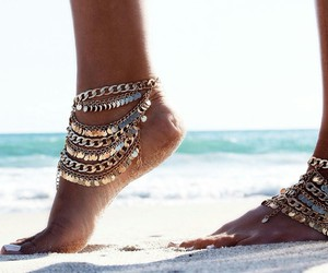beach, feet, and gold image