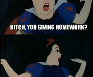 funny, snow white, and homework image