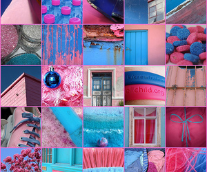 blue, blue and pink, and bright image