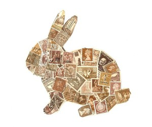 rabbit, stamps, and bunny image