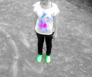 black&white, colorful, and girl image
