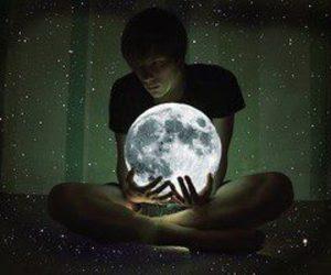 moon, boy, and stars image