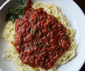 food, pasta, and sauce image