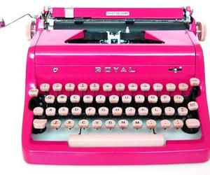 pink, typewriter, and vintage image
