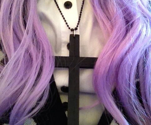 purple hair and blig black cross image
