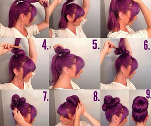 chignon, hair, and cute image