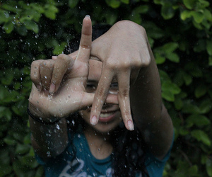 girl, hands, and rain image