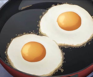 anime, food, and fried eggs image
