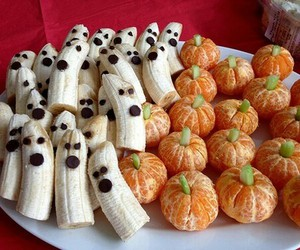 banana, mandarin, and Halloween image