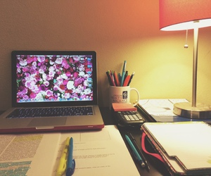 flowers, laptop, and learn image
