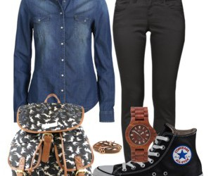 clothes, converse, and denim blouse image