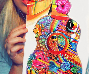 art, guitar, and drawing image