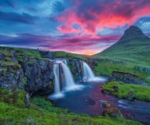 iceland, waterfall, and mountains image
