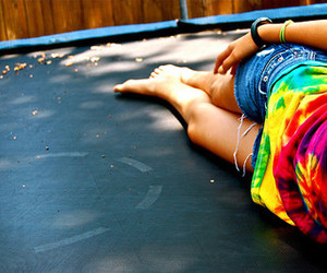 girl, summer, and trampoline image