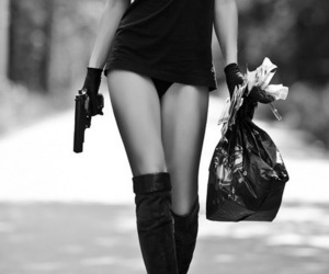 girl, gun, and black and white image