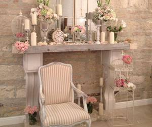 chair, decoration, and flowers image