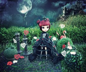doll, garden, and gloomy image