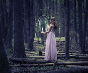 girl, mirror, and forest image