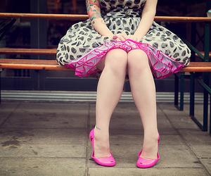 girl, pink, and dress image