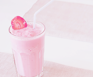 drink, pink, and strawberry image