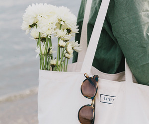 flowers, sunglasses, and bag image