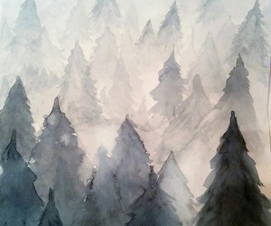 art, watercolor, and tree image