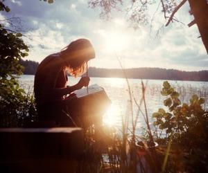 nature, sun, and lake image