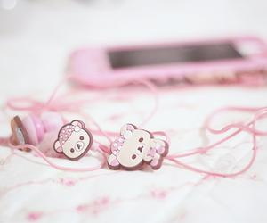 pink, cute, and headphones image