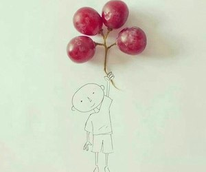 grapes, boy, and balloons image