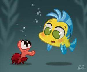 disney, ariel, and flounder image