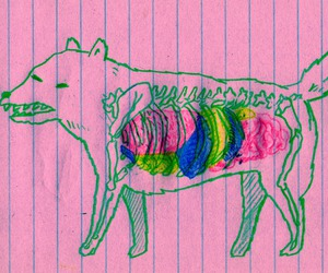 dog, pink, and wolf image