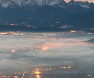 city, light, and mountains image