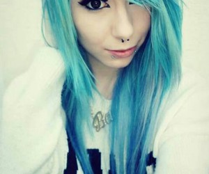 blue, blue hair, and piercing image