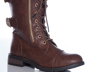 brown and combat boots image
