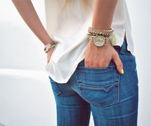 blue, glam, and jeans image