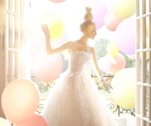 balloons, dress, and model image