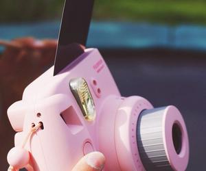 polaroid, pink, and camera image