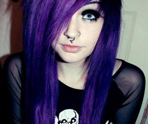 alt girl, dyed hair, and purple hair image