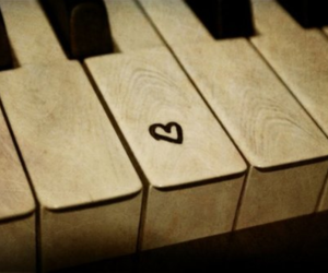music, heart, and piano image
