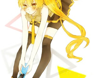 blonde hair, girl, and vocaloid image