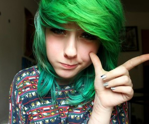 green hair and cute image