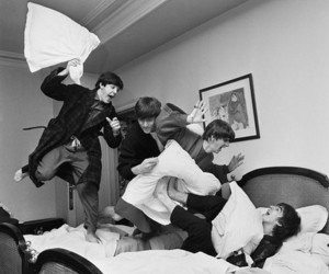 beatles, pillow, and pillow fight image