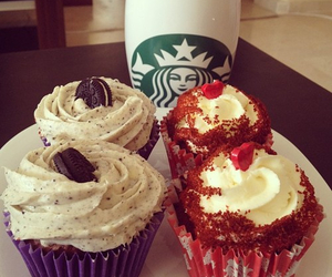 cupcake, starbucks, and food image