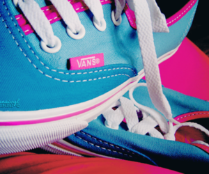 bue, vans, and pink image