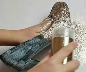 glitter, golden, and heels image