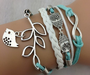 bracelet, owl, and bird image