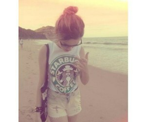 starbucks, beach, and summer image