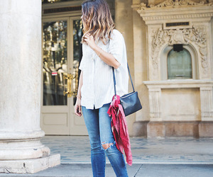 europe, scarf, and wavy hair image