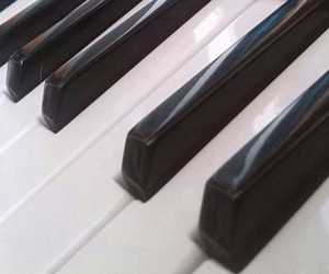 black and white, instrument, and keyboard image